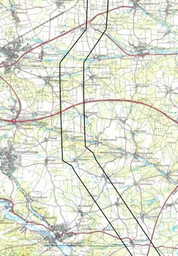 a Trassenverlauf eingezeichnet Landkreis Ansbach neu