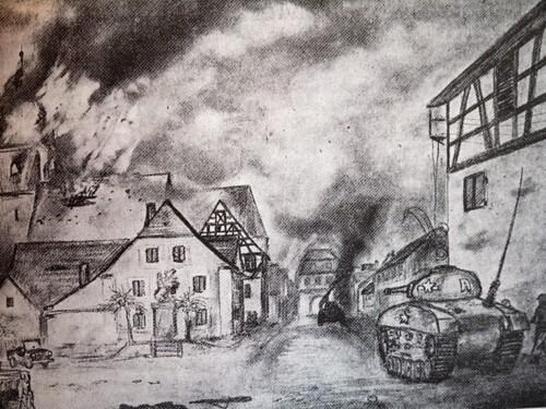a Marktplatz - Blck auf brennende Kirche